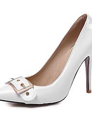 abordables -Femme Chaussures Polyuréthane Printemps été Escarpin Basique Chaussures à Talons Talon Aiguille Bout pointu Boucle Noir / Rouge / Amande / Soirée & Evénement