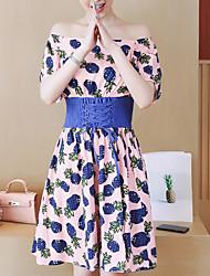 abordables -Mujer Básico Línea A Vestido - Estampado, Fruta Hasta la Rodilla