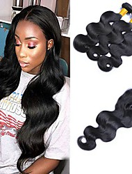 cheap -Indian Hair Body Wave Natural Color Hair Weaves / Tea Party Favors / Costume Accessories 3 Bundles With  Closure 8-20 inch Human Hair Weaves 4x4 Closure Soft / Best Quality / New Arrival Dark Black
