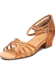 baratos -Para Meninas Sapatos de Dança Latina Couro Ecológico Têni Salto Grosso Sapatos de Dança Preto / Marron
