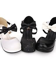cheap -Lolita Shoes Gothic Lolita Dress / Punk Lolita Dress Gothic Chunky Heel Shoes Bowknot / Stars 6.5 cm CM White / Black / Black For PU(Polyurethane)
