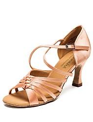 baratos -Mulheres Sapatos de Dança Latina Couro Ecológico Têni Salto Grosso Sapatos de Dança Marron / Vermelho / Nú