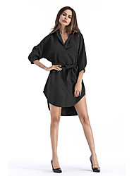 baratos -Mulheres Camisa Vestido Sólido Altura dos Joelhos