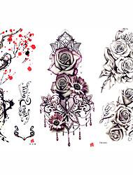 Недорогие -3 pcs Временные татуировки Тату с цветами / Романтическая серия Гладкий стикер / Безопасность Искусство тела рука / плечо / Временные татуировки в стиле деколь