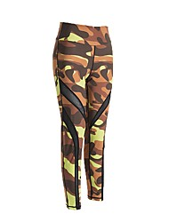 abordables -Mujer Pantalones de yoga Deportes camuflaje Medias / Mallas Largas Running, Fitness, Gimnasia Ropa de Deporte Secado rápido, Cómodo Microelástico