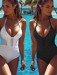 baratos -Mulheres roupa de banho Design Anatômico, Vestível, Respirabilidade Fibra Sintética Sem Manga Roupa de Banho Roupa de Praia Body Sólido Natação / Surfe / Elasticidade Alta