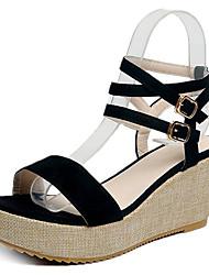 povoljno -Žene Cipele PU Ljeto Remen oko gležnja Sandale Wedge Heel Crn / Sive boje