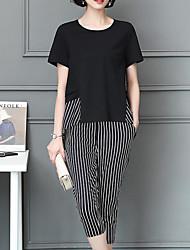 abordables -Mujer Tallas Grandes Básico Manga Farol Blusa - Un Color, Plisado Pantalón