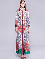economico -Per donna Vintage / Moda città Caftano Vestito - Con stampe, Fantasia floreale Maxi