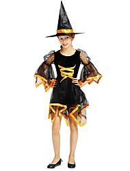 Недорогие -ведьма Инвентарь Девочки Хэллоуин / Карнавал / День детей Фестиваль / праздник Костюмы на Хэллоуин Черный Однотонный / Halloween Хэллоуин