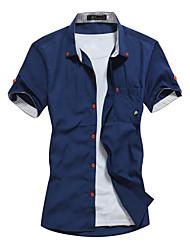 Недорогие -Муж. С принтом Большие размеры - Рубашка Хлопок, Классический воротник Тонкие Однотонный / С короткими рукавами