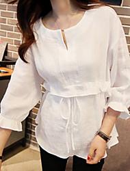 Недорогие -Жен. Рубашка Хлопок, V-образный вырез Однотонный