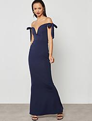 baratos -Mulheres Moda de Rua / Sofisticado Bainha Vestido - Cordões, Sólido Longo