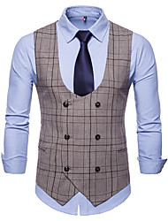cheap -Men's Plus Size Vest-Plaid Peaked Lapel / Sleeveless
