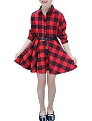 economico -Bambino Da ragazza Essenziale Nero e rosso A quadri / Collage Lacci Manica lunga Al ginocchio Vestito