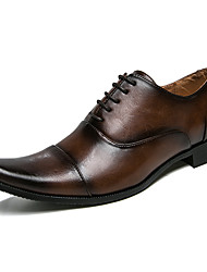 cheap -Men's Patent Leather / Cowhide Fall & Winter Comfort Oxfords Color Block Black / Light Brown
