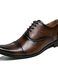 Недорогие -Муж. Официальная обувь Искусственная кожа Осень Английский Туфли на шнуровке Контрастных цветов Черный / Коричневый / Квадратный носок / Свадьба / Для вечеринки / ужина