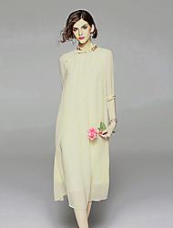 Недорогие -Жен. Винтаж / Шинуазери (китайский стиль) С летящей юбкой Платье - Однотонный, Вышивка Средней длины