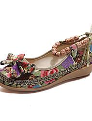 Недорогие -Жен. Обувь Хлопок Весна лето Удобная обувь На плокой подошве Туфли на танкетке Круглый носок Бусины Черный / Красный