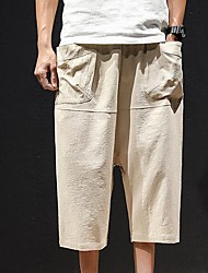 cheap -men's linen harem pants - solid colored
