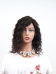 abordables -Cabello Remy Encaje Frontal Peluca Cabello Brasileño Ondulado Peluca Corte asimétrico 130% Mujer / Fácil vestidor / Natural Negro Mujer 8-14 Pelucas de Cabello Natural