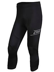 baratos -SPAKCT Homens Calças 3/4 Para Ciclismo Moto 3/4 calças justas Sólido Preto Roupa de Ciclismo