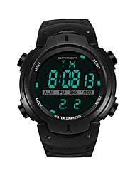Недорогие -SANDA Муж. Спортивные часы электронные часы Японский Цифровой 30 m Защита от влаги Календарь Хронометр Plastic Группа Цифровой Роскошь Мода Черный / Серебристый металл / Золотистый -  / Фаза луны