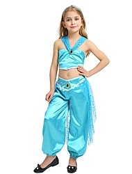 cheap -Princess Jasmine Costume Girls' Halloween / Carnival / Children's Day Festival / Holiday Halloween Costumes Cyan Solid Colored / Halloween Halloween