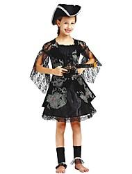 Недорогие -Пираты Костюм Дети Девочки Хэллоуин Хэллоуин Карнавал День детей Фестиваль / праздник Полиэстер Черный Карнавальные костюмы Однотонный Halloween