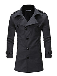 cheap -Men's Long Cotton Trench Coat - Solid Colored Shirt Collar / Long Sleeve