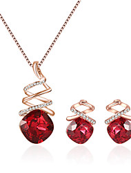 cheap -Women's Crossover Jewelry Set - European, Fashion, Elegant Include Necklace / Earrings Purple / Red / Blue For Causal / Daily