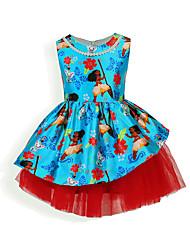 Недорогие -Дети / Дети (1-4 лет) Девочки Цветок солнца Цветочный принт Без рукавов Платье