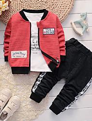 Недорогие -малыш Мальчики Черный и красный Жаккард Длинный рукав Набор одежды