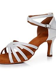 baratos -Mulheres Sapatos de Dança Latina Cetim Salto Salto Alto Magro Personalizável Sapatos de Dança Branco