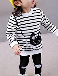 economico -Bambino (1-4 anni) Da ragazza Cartone animato / A strisce A strisce Manica lunga Cotone Completo