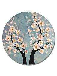 cheap -STYLEDECOR Modern Hand Painted Abstract Circular Frame Blue Background and Light-Pink Flowers Oil Painting on