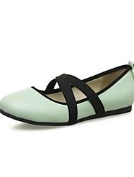 Недорогие -Жен. Обувь Полиуретан Весна лето С Т-образной перепонкой На плокой подошве На плоской подошве Круглый носок Черный / Зеленый / Розовый