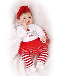 baratos -NPKCOLLECTION Bonecas Reborn Bebês Meninas 24 polegada realista, Cílios aplicados à mão, Nozes vedadas e seladas de Criança Para Meninas Dom / Olhos Castanhos de Implantação Artificial