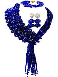 Недорогие -Жен. Многослойность Комплект ювелирных изделий - Австрийские кристаллы MOON Мода Включают Струнные ожерелья Розовый / Ярко-розовый / Светло-коричневый Назначение Свадьба Для вечеринок