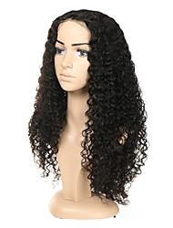 Недорогие -Натуральные волосы Полностью ленточные Парик Индийские волосы Кудрявый Парик Ассиметричная стрижка 130% / 150% / 180% Без запаха / Конструкторы / Шерсть Черный Жен. Средняя длина / Мода