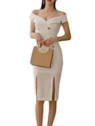 abordables -Femme Sortie Mince Gaine Robe Taille haute Sans Bretelles Mi-long