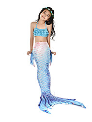 cheap -The Little Mermaid Swimwear Bikini Costume Girls' Halloween Carnival Festival / Holiday Halloween Costumes Outfits Ink Blue Mermaid Vintage