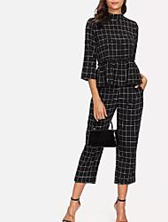 abordables -Mujer Conjunto - A Cuadros Pantalón
