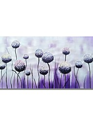 cheap -STYLEDECOR Modern Hand Painted Abstract Purple Background Spherical Flowers Oil Painting on Canvas Wall Art