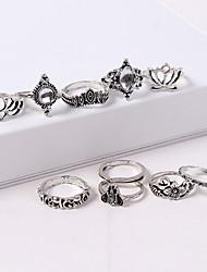baratos -Mulheres Retro Conjunto de anéis - Coroa, Lotus Vintage, Europeu, Fashion Prata Para Rua / 10pçs