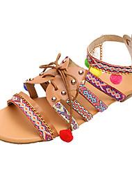 baratos -Mulheres Sapatos Couro Ecológico Verão Conforto Sandálias Sem Salto Dedo Aberto Laço / Miçangas / Rendado Arco-íris / 3D