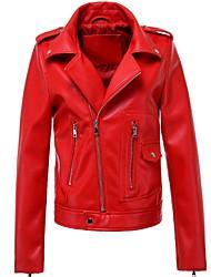 Недорогие -женская кожаная куртка pu - сплошной цвет