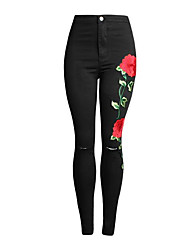 cheap -Women's Jeans Pants - Floral High Waist / Going out
