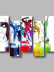 billige -Hang-Painted Oliemaleri Hånd malede - Abstrakt / Mennesker Moderne Lærred