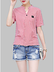cheap -Women's Shirt - Solid Colored / Check Patchwork